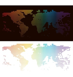 Rainbow halftone world map vector image