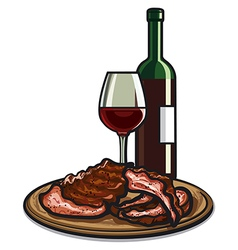 ribs and wine vector image