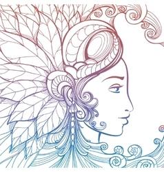 Zentangle woman face colorful tatoo tempate vector image