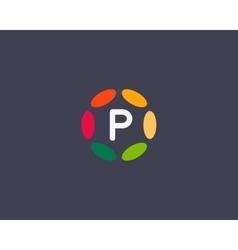 Color letter p logo icon design hub frame vector