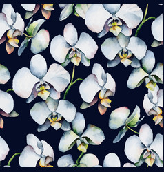 Floral pattern Seamless background White orchids vector image