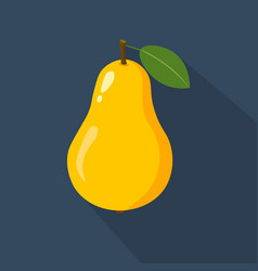 pear cartoon flat icondark blue background vector image vector image