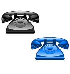 retro glossy telephone icons vector image vector image