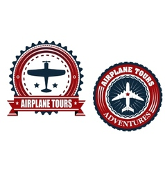 Round Airplane tours banners vector image vector image