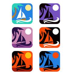 square icons set tropical emblems vector image