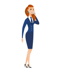stewardess talking on a mobile phone vector image