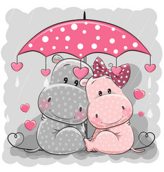 Two cute hippos with umbrella under the rain vector