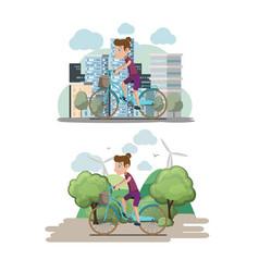 bicycle woman ride city eco vector image vector image