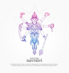 creative maa durga for navratri festival vector image