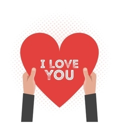 I love You Lettering Card Hold Hands vector image