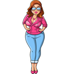 sexy curvy bbw woman cartoon pink leather jacket vector image
