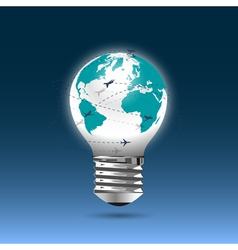 Bulb light globe with flying planes vector image vector image