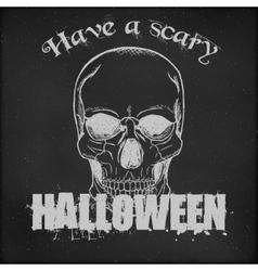 Halloween poster design - Hand drawn Skull vector image vector image