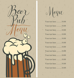 menu for pub with price list and glass of beer vector image vector image
