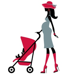 Pregnant woman with child in a stroller vector image vector image