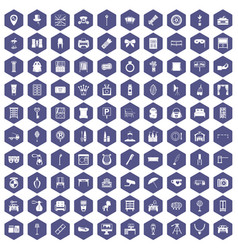 100 mirror icons hexagon purple vector
