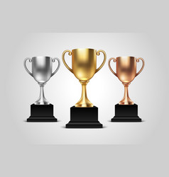 3d blank golden silver and bronze champion vector image