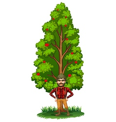 A lumberjack under the tree vector image