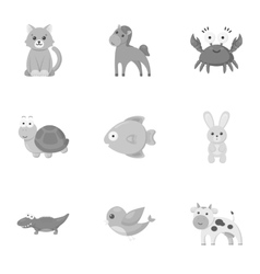 Animals set icons in monochrome style big vector