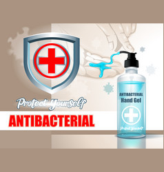 antibacterial agent with hands on background vector image