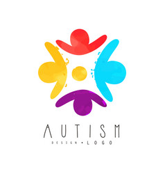 Autism awareness day logo with humans in circle vector