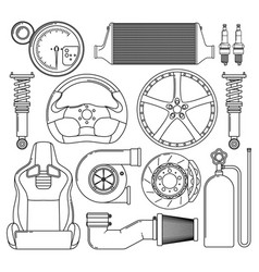 Auto parts icons set vector