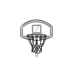 Basketball hoop and net hand drawn outline doodle vector