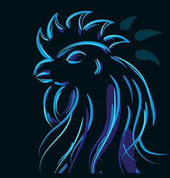 beautiful cock on a black background with a blue vector image