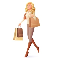 Beautiful lady walking with shopping bags and vector