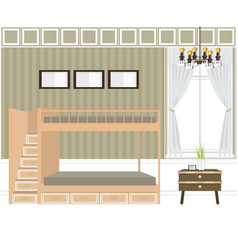 Bedroom interior design bunk beds vector