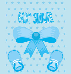 blue bow little shoes ribbon dotted background vector image
