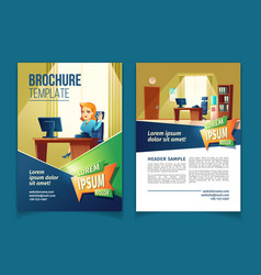 brochure template with cartoon office vector image