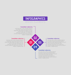 business rhombus puzzle infographic with 4 vector image