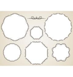 Calligraphic round frame vector