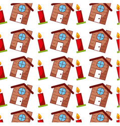 candle christmas and cute house vector image