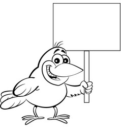 cartoon bird holding a sign vector image