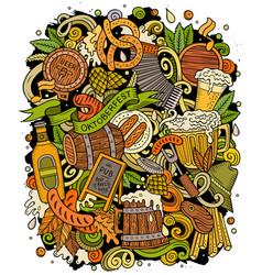 Cartoon doodles beer fest oktoberfest funny vector