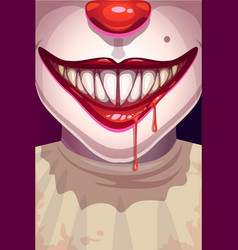 Cartoon scary movie poster with creepy clown face vector