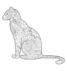 Cat Coloring for adults vector image