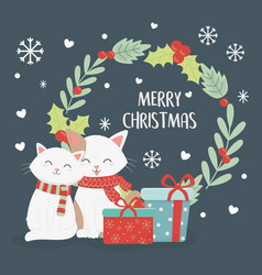 Cats gift boxes wreath celebration merry christmas vector