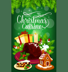 Christmas pudding and gift greeting card design vector