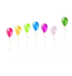 Colorful flying balloons in a row vector