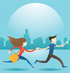 Couple Man and Woman Run in City vector image