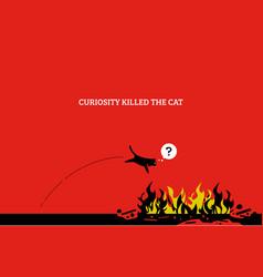 Curiosity kills cat artwork showing a cat vector