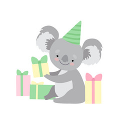 cute koala bear wearing party hat sitting with vector image