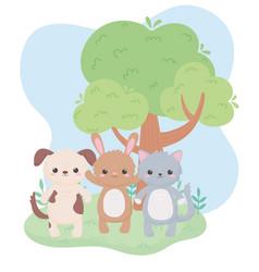 cute little cat dog and rabbit tree cartoon vector image