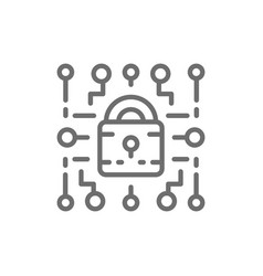 Cyber lock web security cryptography line icon vector