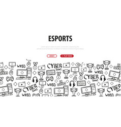 Cyber sport banner esports gaming video games vector