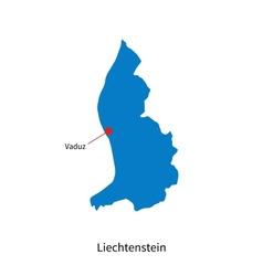 Detailed map of Liechtenstein and capital city vector