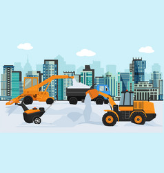 Different machines in winter removing snow vector